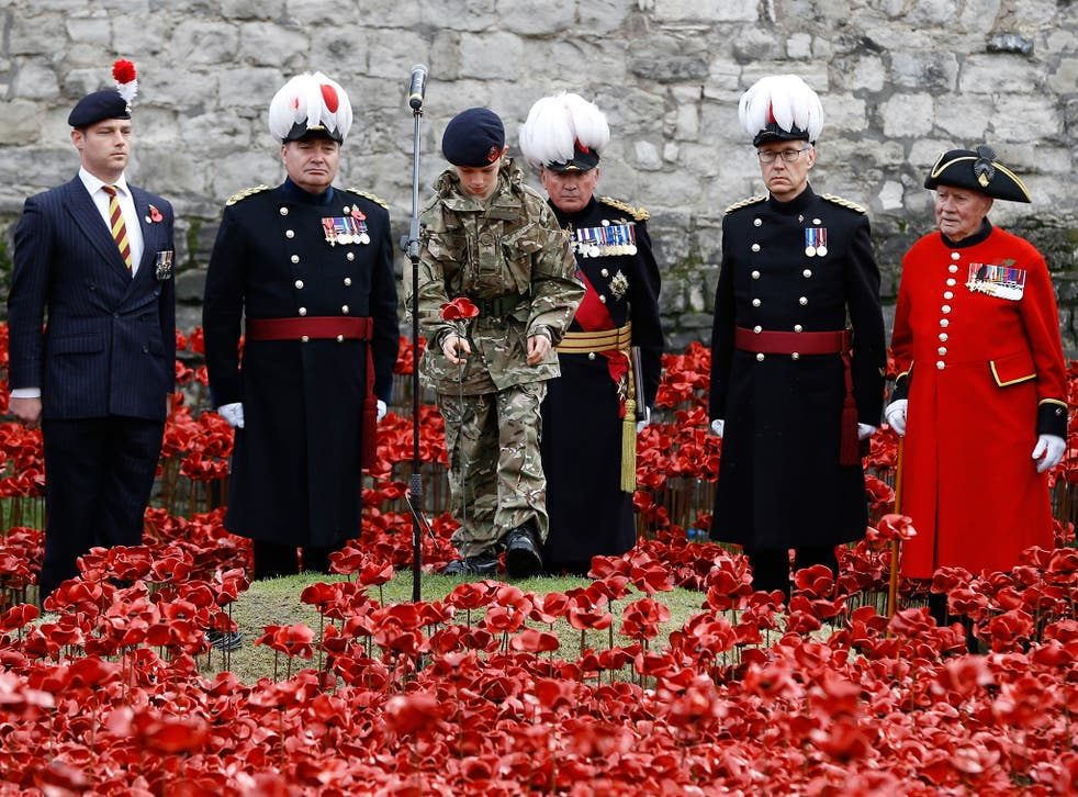 Cadet Harry Alexander Hayes plants the last poppy during a remembrance day ceremony into the ceramic poppy art installation by artist Paul Cummins entitled 'Blood Swept Lands and Seas of Red' in the dry moat of the Tower of London