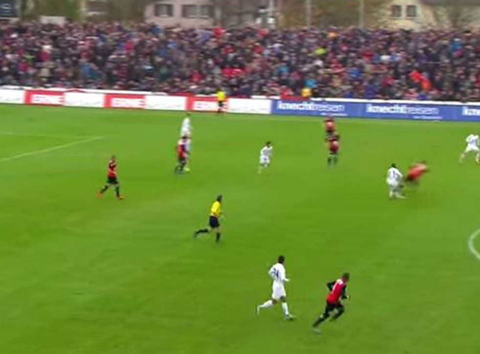 Sandro Wieser's sickening tackle on Gilles Yapi-Yapo during the match between FC Zurich and FC Aarau