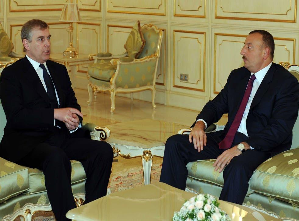 Ilham Aliyev, president of Azerbaijan, with Prince Andrew in 2009