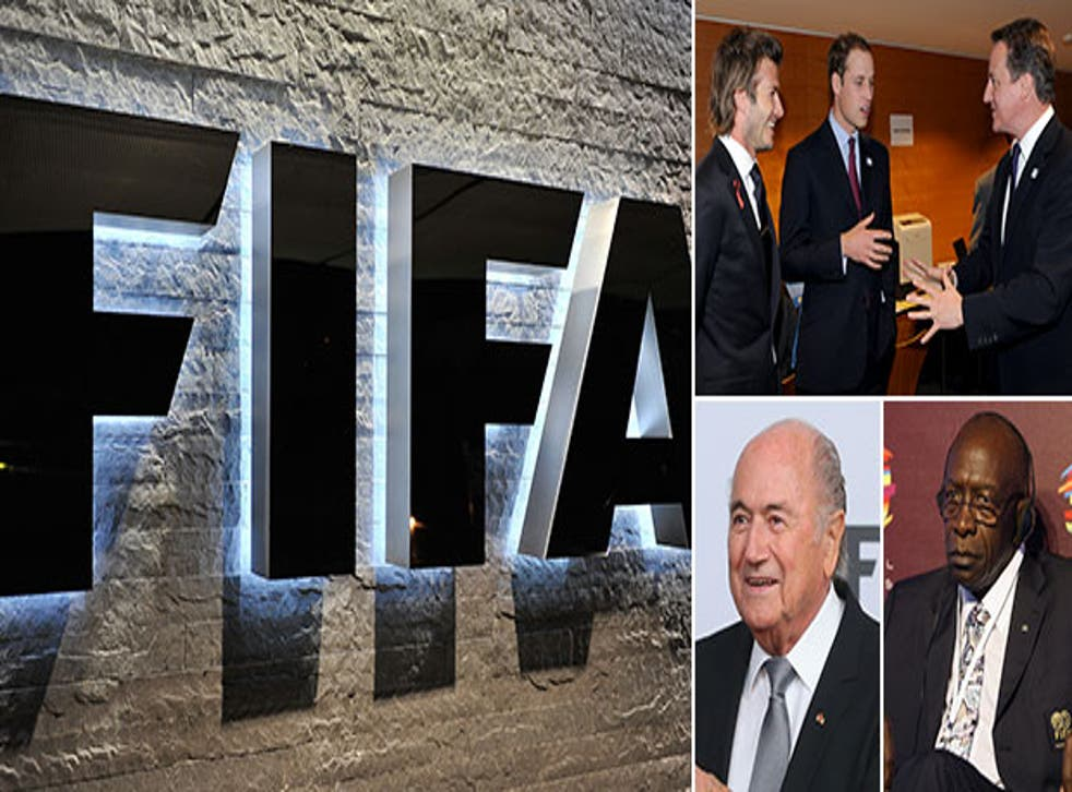 Fifa president Sepp Blatter, former vice-president Jack Warner and part of the FA's 2018 World Cup bid team