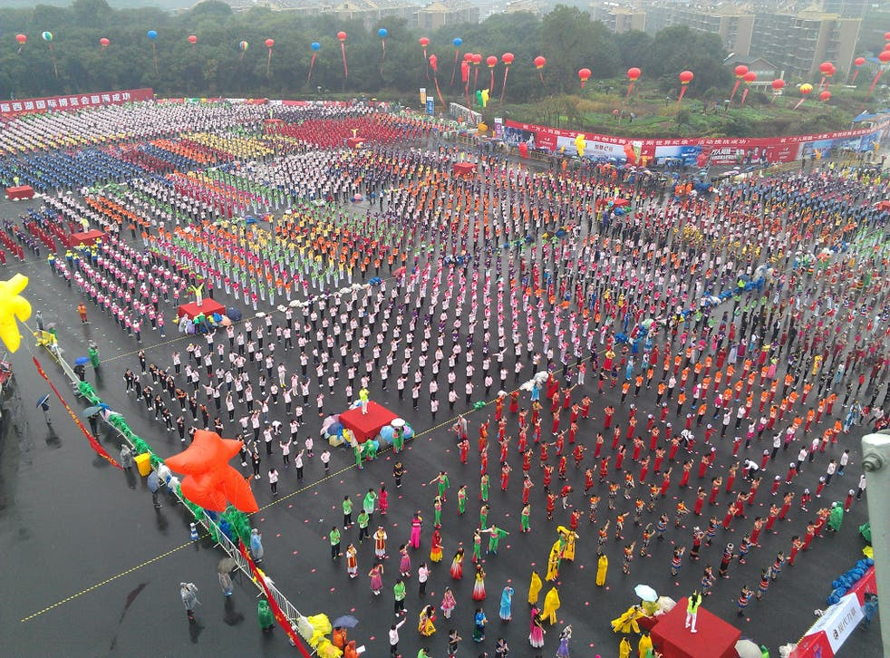 The largest line dance (multiple venues) involved 25,703 participants and was achieved by China Line Dance Sport Promotion Center (China) in Hangzhou, Zhejiang, China