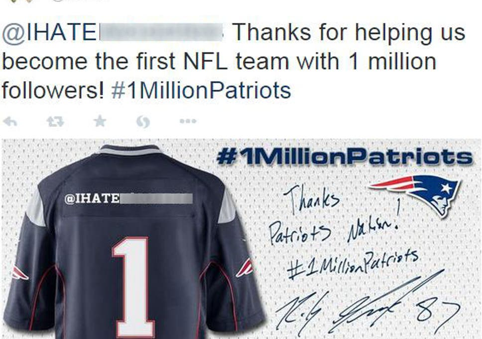 228f0860d New England Patriots apologise after posting tweet with racial slur on the  back of a shirt to celebrate 1 million Twitter followers