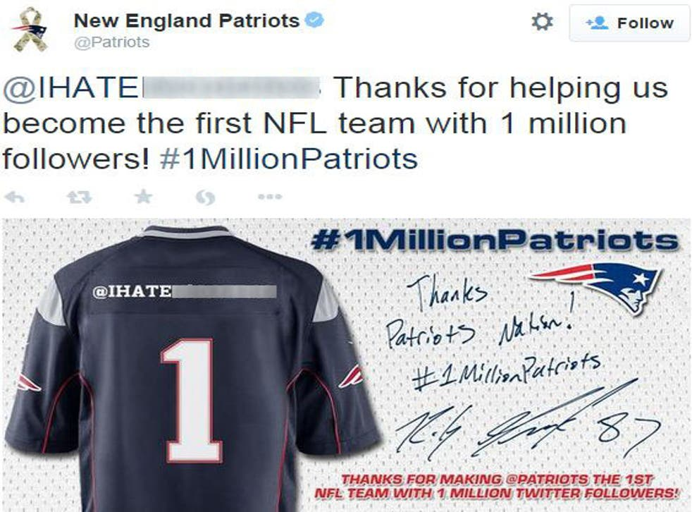 The New England Patriots sent out this tweet which mentions a user named @IHATEN****RSS before later deleting it