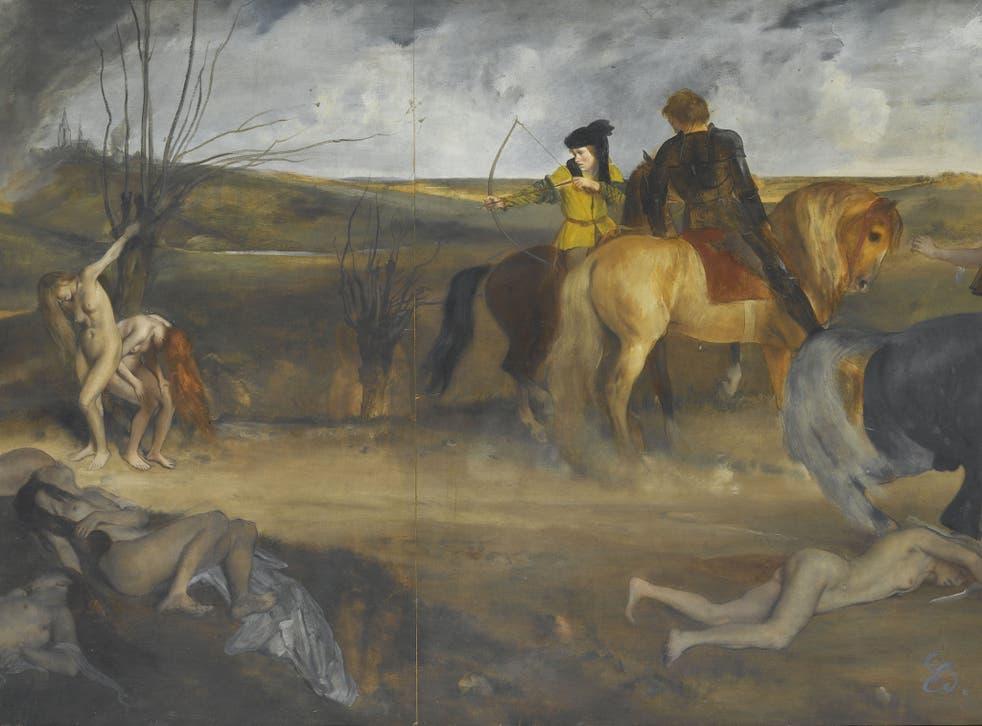 Edgar Degas' 'Scène de guerre au Moyen-âge', 1865, is one of the exhibits said to be inspired by Sade