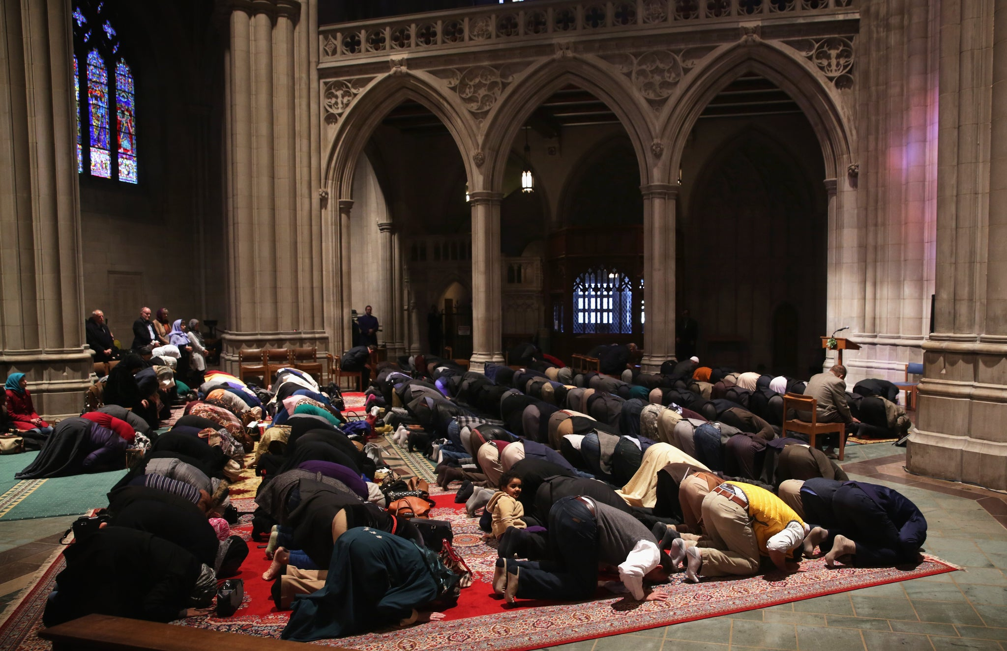 Hundreds of Muslims attend weekly prayers at iconic Christian cathedral