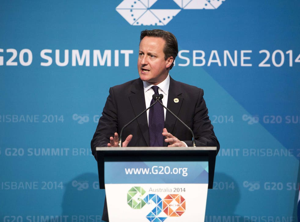 Britain's Prime Minister David Cameron speaks on the final day of the G20 Summit in Brisbane