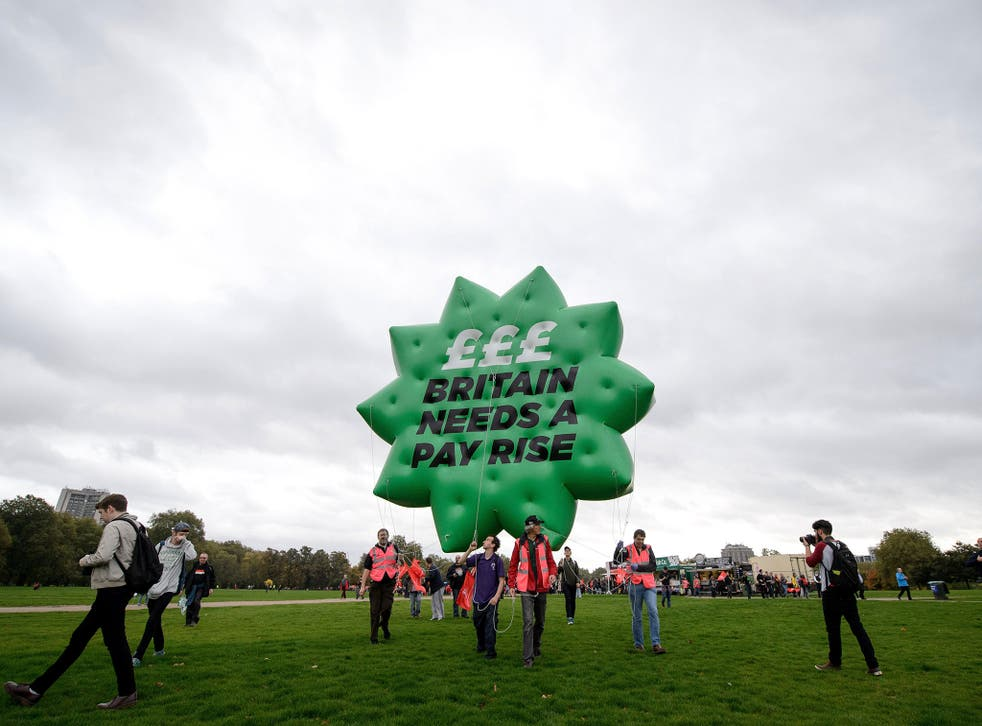 A protest against low pay in Hyde Park: before the recession wages were rising at more than 4 per cent a year