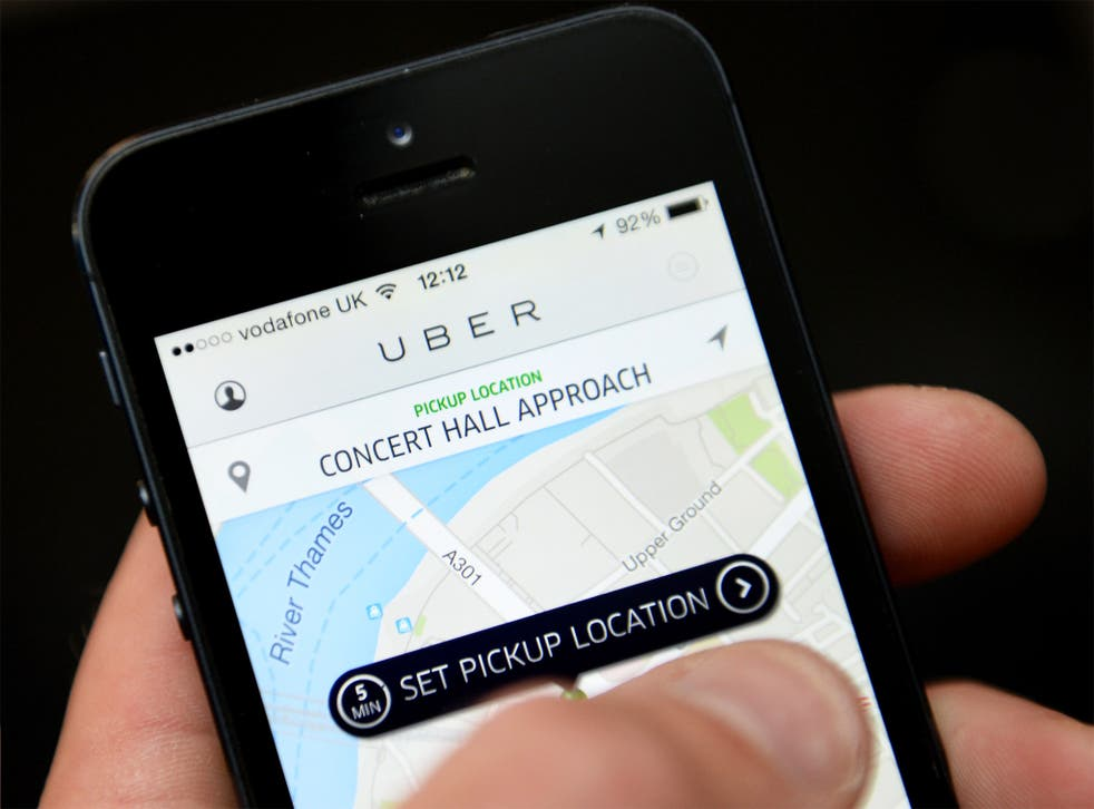 The Uber app allows passengers to hail a taxi with a smartphone