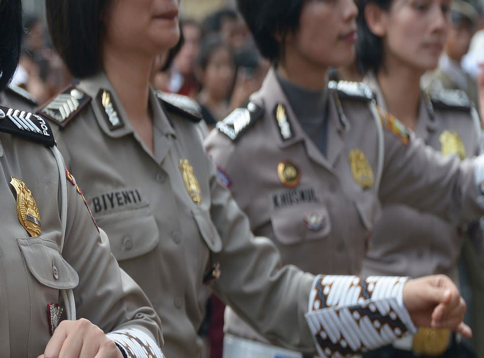 """Women in Indonesia are required to complete an """"obstetrics and gynaecology"""" exam as part of the recruitment process to enter the force"""