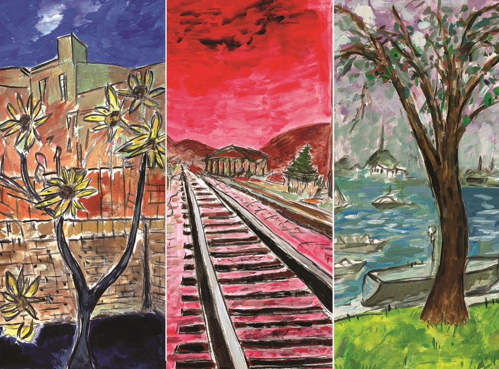 Glimpses of three paintings in Bob Dylan's Drawn Blank Series collection