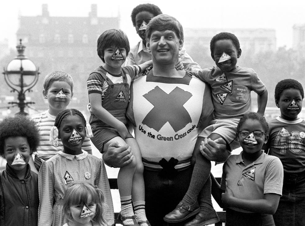 Actor Dave Prowse in his role as the Green Cross Code Man in 1982
