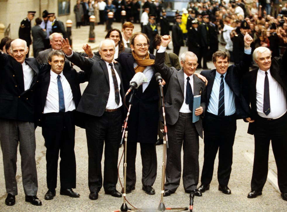 L to R: William Power, Richard McIlkenny, John Walker, Chris Mullin MP, Gerry Hunter, Patrick Hill and Hugh Callaghan