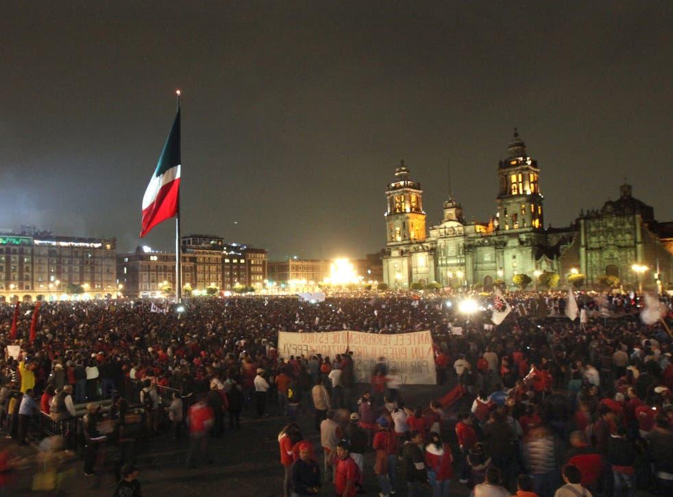 Tens of thousands of people congregated in Plaza de la Constitución in Mexico City