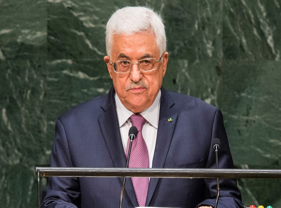 Mahmoud Abbas speaking at the UN General Assembly
