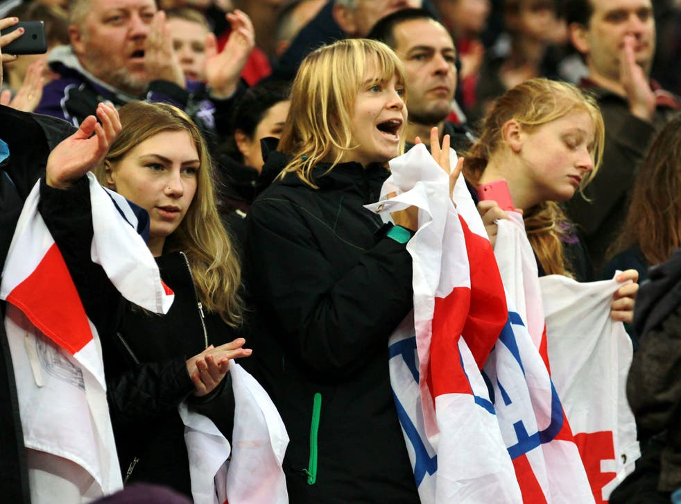 England fans show their loyalty before the friendly match against Germany at Wembley stadium