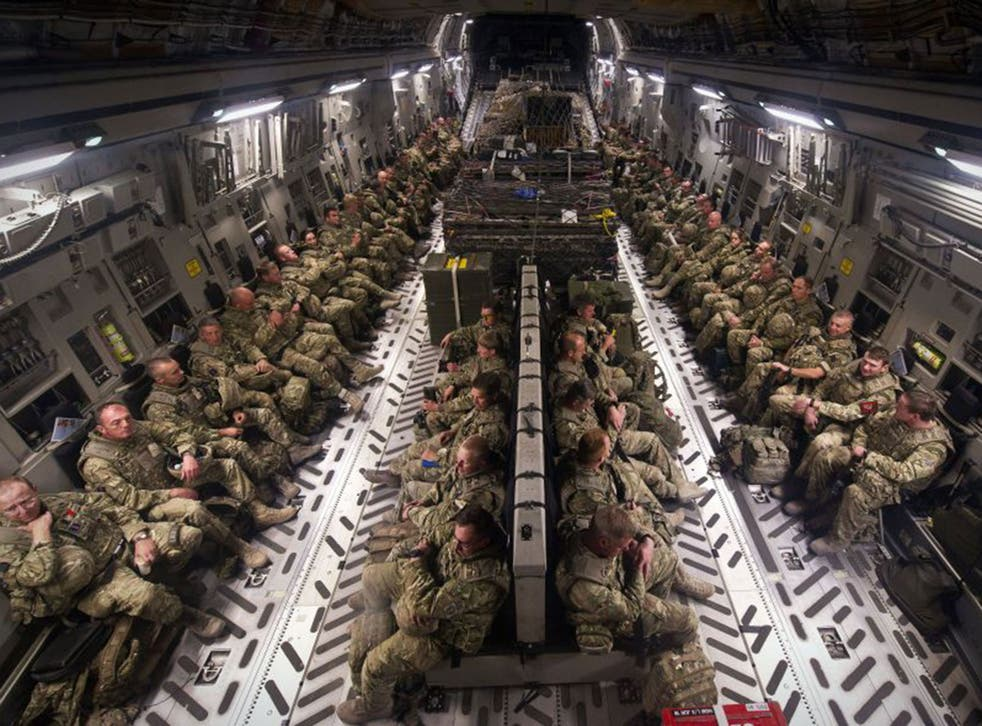 British military personnel aboard an RAF C-17 Globemaster flying home from Afghanistan. Not all find the future they hope for – as our campaign will demonstrate