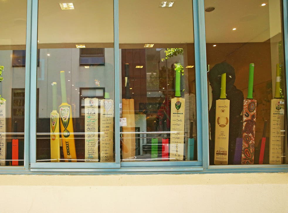 Cricket Australia placed 63 bats in the windows of their Melbourne office to remember the 63 not-out scored by Hughes