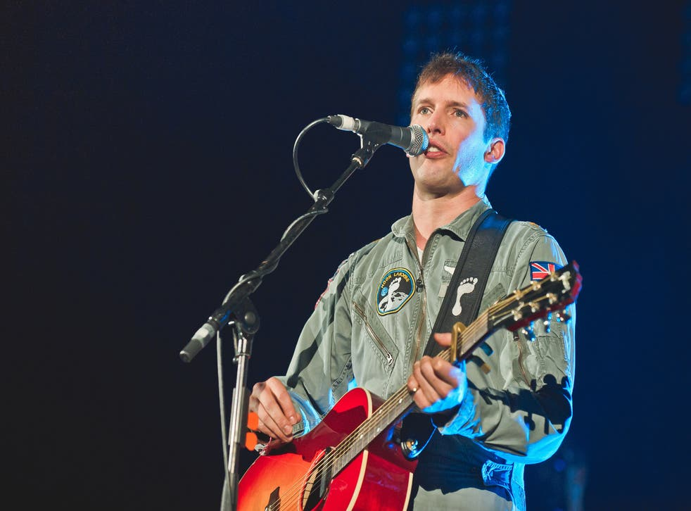 James Blunt performs on stage at the Hammersmith Apollo