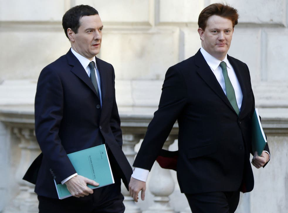 George Osborne and Chief Secretary to the Treasury Danny Alexander leave the Treasury to present the Autumn Statement to Parliament in London