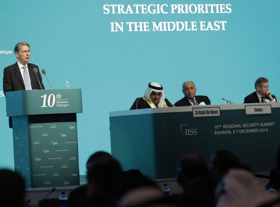 Foreign Secretary Philip Hammond speaks during the 10th International Institute for the Strategic Studies in Manama, Bahrain, on 6 December