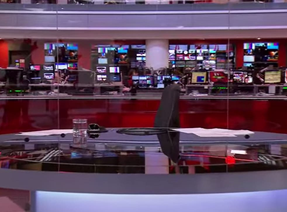 The camera in the BBC News studio started filming a vacant desk
