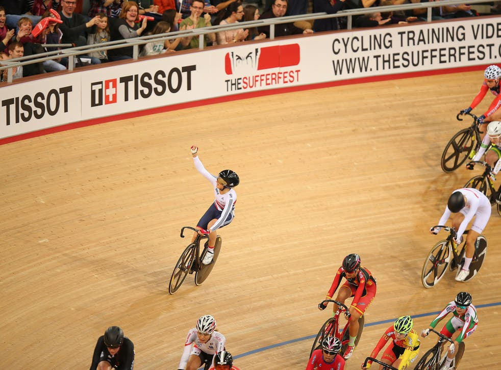 Laura Trott waves to the crowd after winning the Women's Omnium Scratch Race