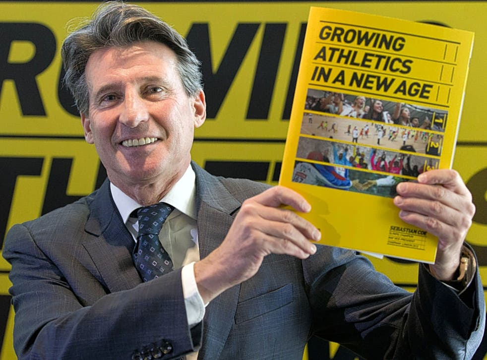 Sebastian Coe at the launch of his election manifesto for the presidency of the IAAF