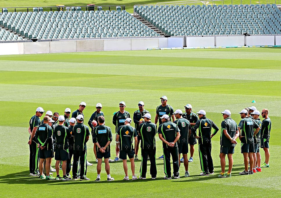 The Australian Team Gather In The Middle Before A Nets Session At The Adelaide Oval On