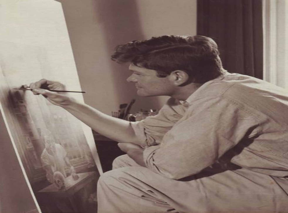 Chamberlain at work: though his painting had great success, he gave it up in 1967