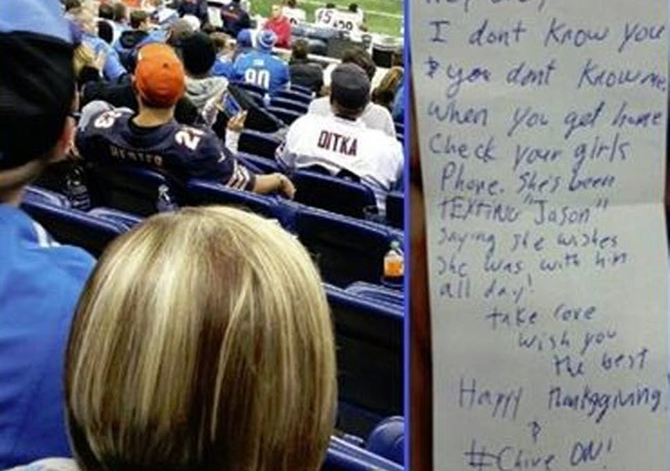 Football fan spots woman text cheating at a game, lets