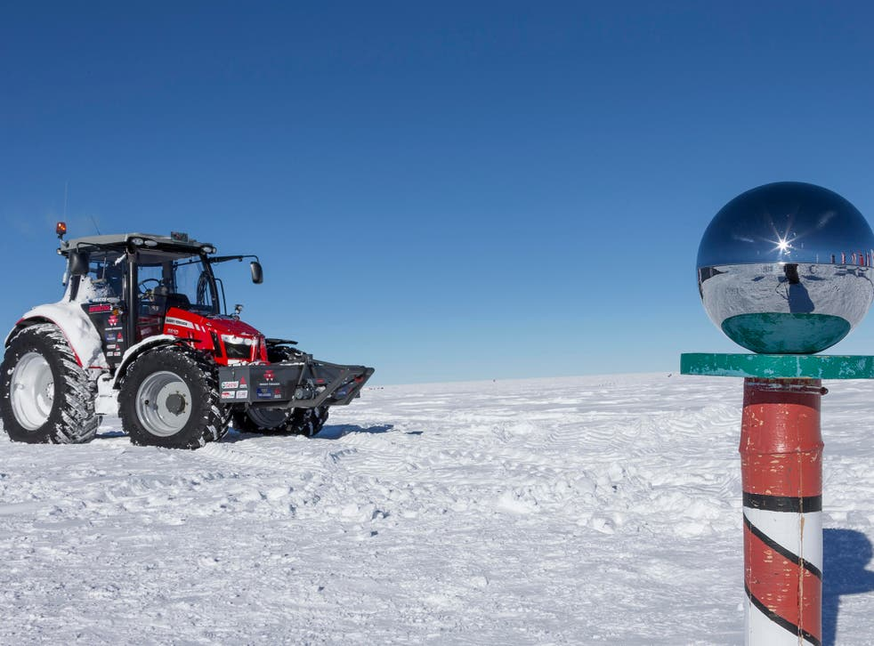 Manon Ossevoort, a Dutch actress and adventurer, has arrived at the South Pole after a 2,500 km journey across the ice of Antartica in a red Massey tractor.