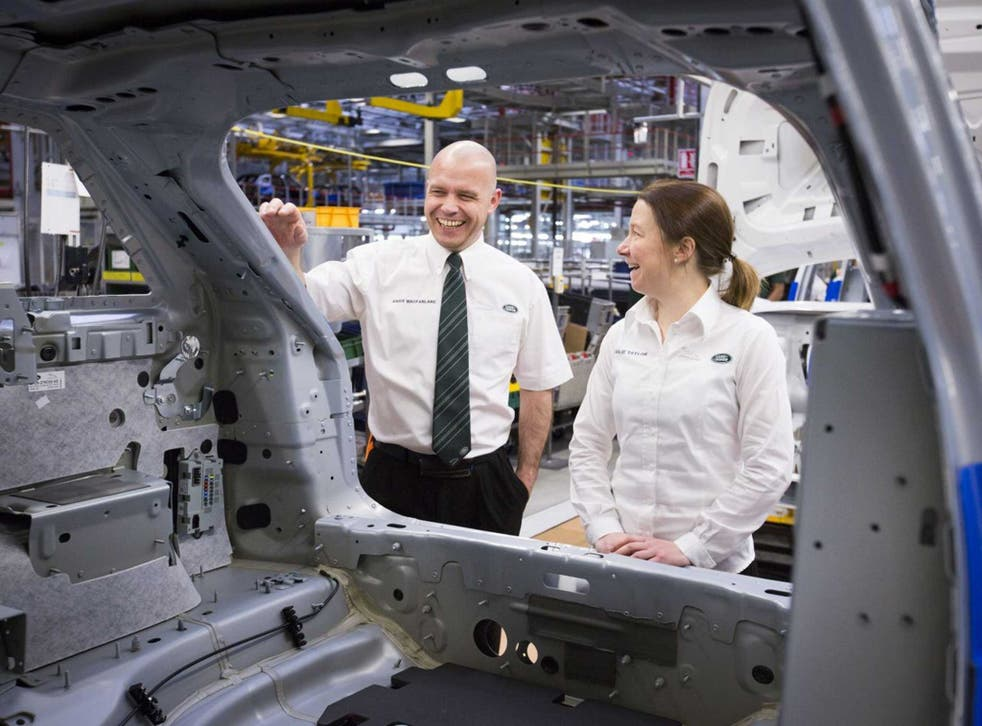 Former soldiers Andy MacFarlane and Julie Taylor, who now work at the Jaguar Land Rover plant in Solihull