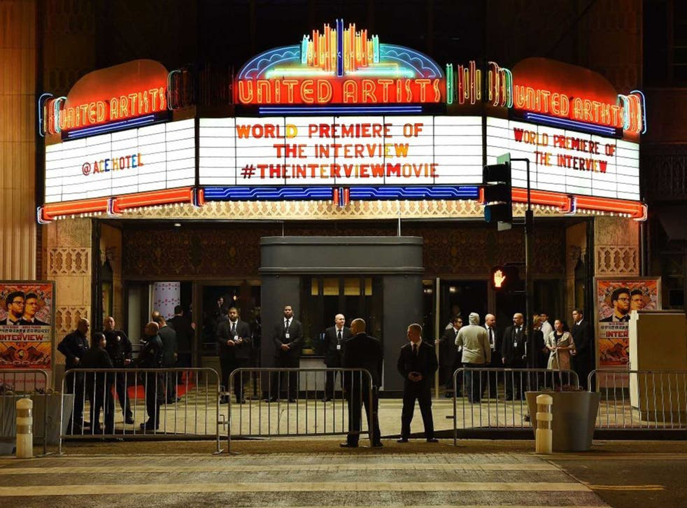 """Security is seen outside The Theatre at Ace Hotel before the premiere of the film """"The Interview""""  in Los Angeles, California"""