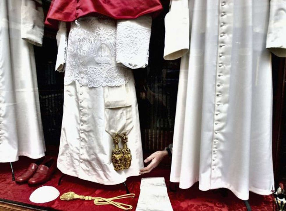 The hand-embroided Papal gowns