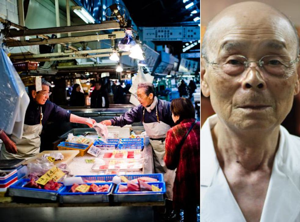Jiro Ono, right, has been practising his art for eight decades; Tokyo's Tsukiji fish market