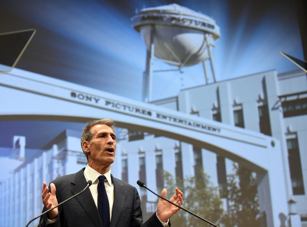 Sony Entertainment CEO and Sony Pictures Entertainment chairman and CEO Michael Lynton speaks at the company's headquarters in Tokyo on November 18