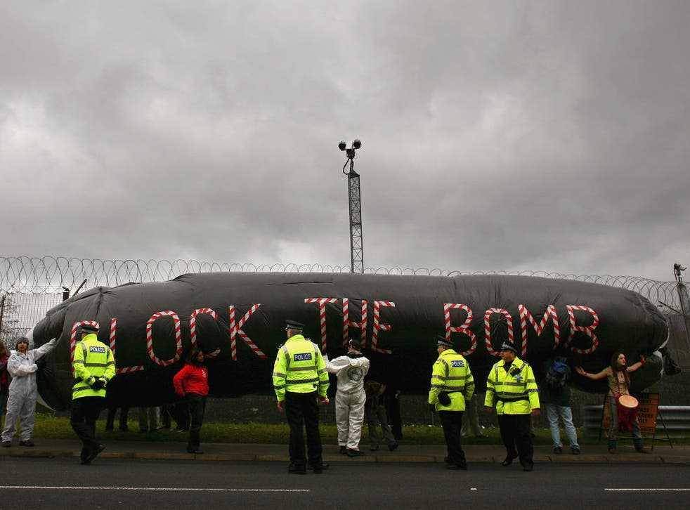 Campaigners protest at the Faslane naval base on the Clyde, home of the Trident Submarine fleet, in March 2007
