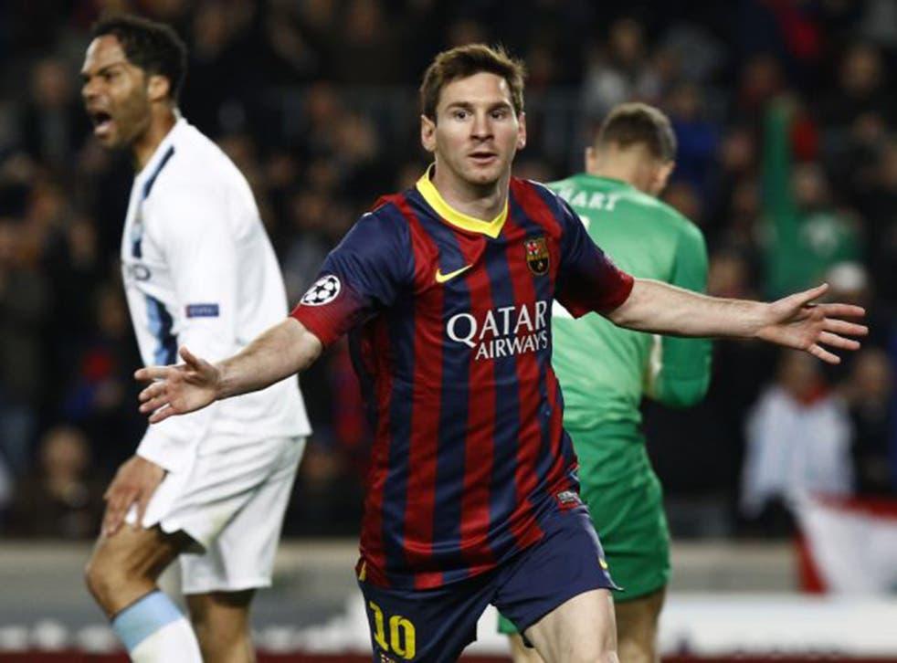 Lionel Messi celebrates scoring in the second leg of last season's last-16 tie against City (AFP/Getty)