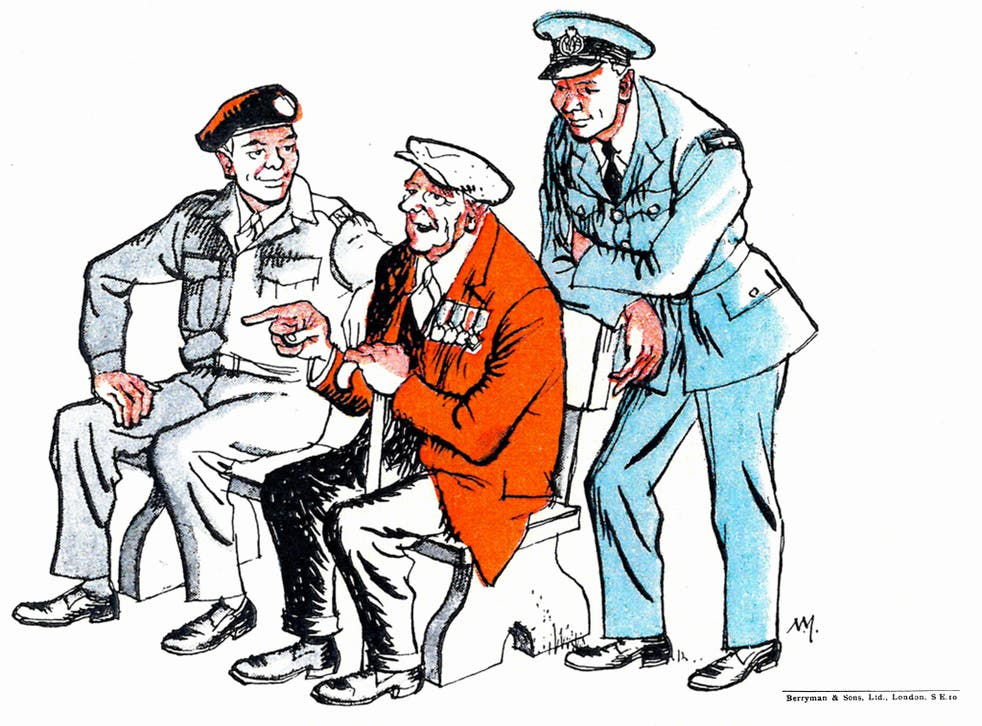 The cartoon is from an original drawn by Norman Mansbridge for the Ex-Services Fellowship Centre (later to become known as Veterans Aid). Mansbridge, who served as a wireless operator in the Merchant Navy, also had a roving commission as a war artist befo