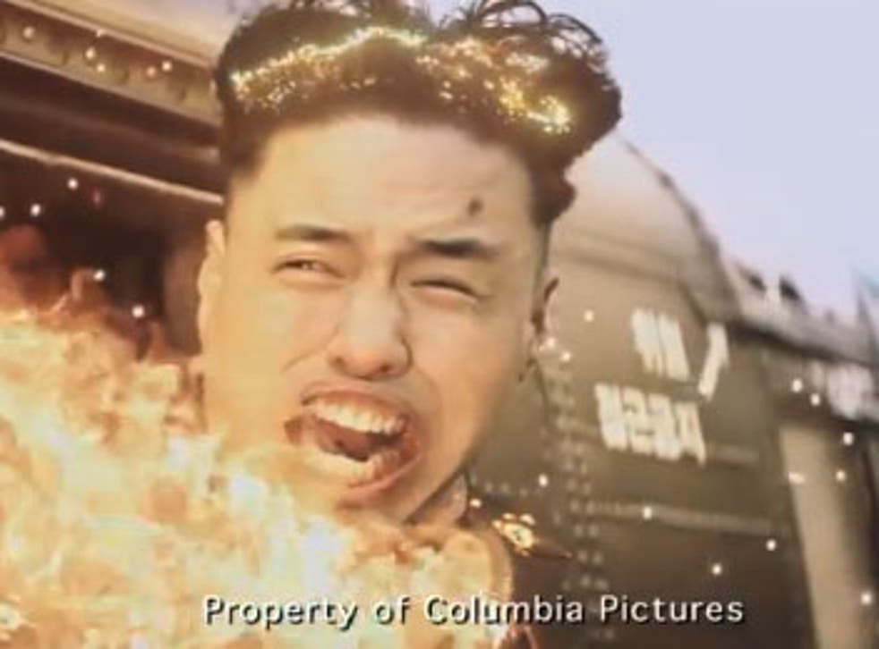 A still from a scene cut from The Interview showing North Korean leader Kim Jong-un's death.