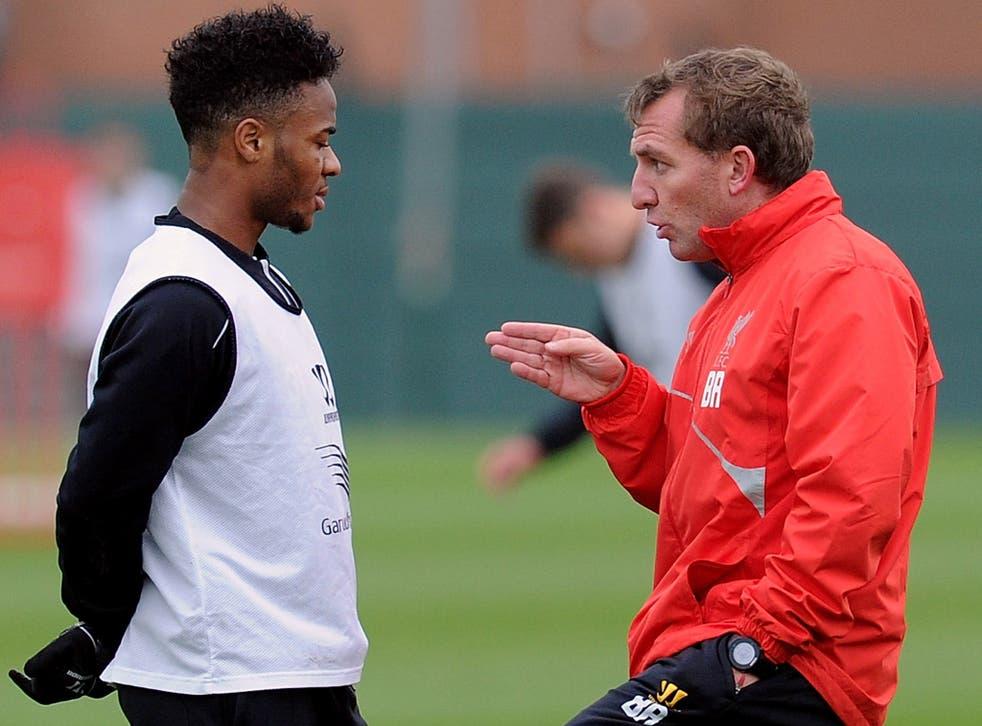 Raheem Sterling with Brendan Rodgers