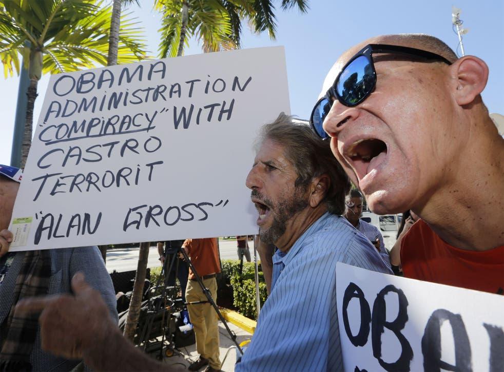 Anti-Castro activists in the Little Havana area of Miami on Wednesday