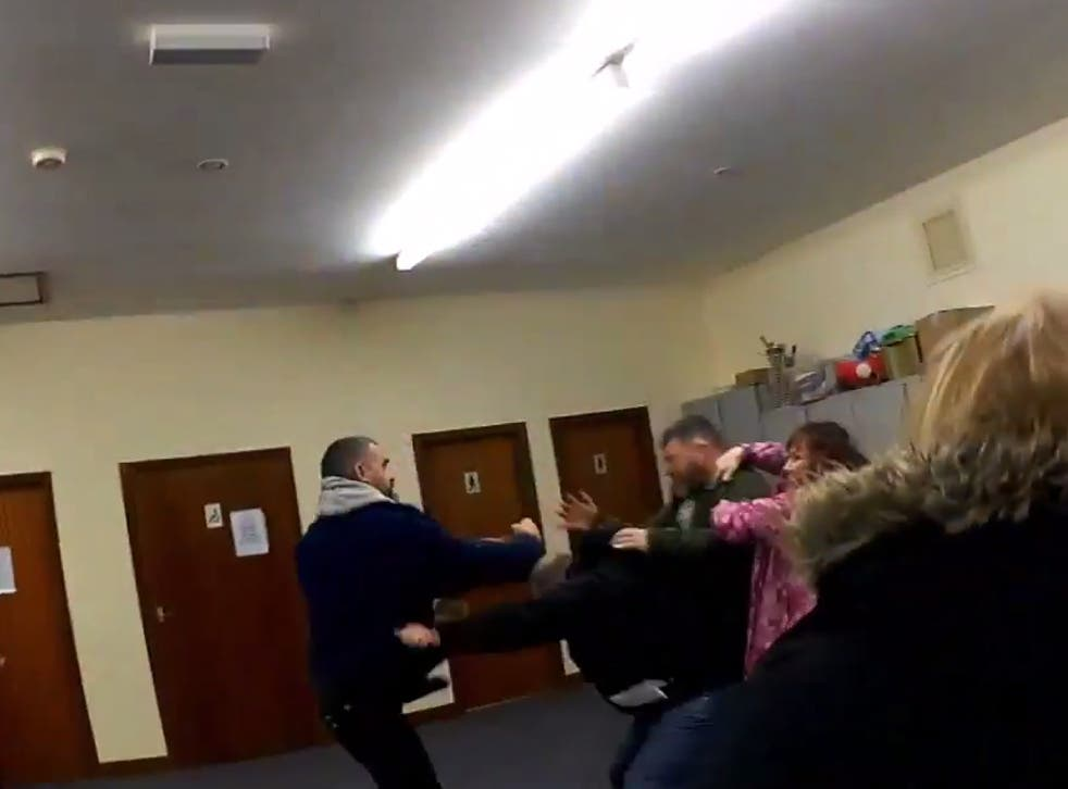The moment the a fight broke out in a Parish Council meeting in Briefcliffe, which was thought to be about sheep grazing