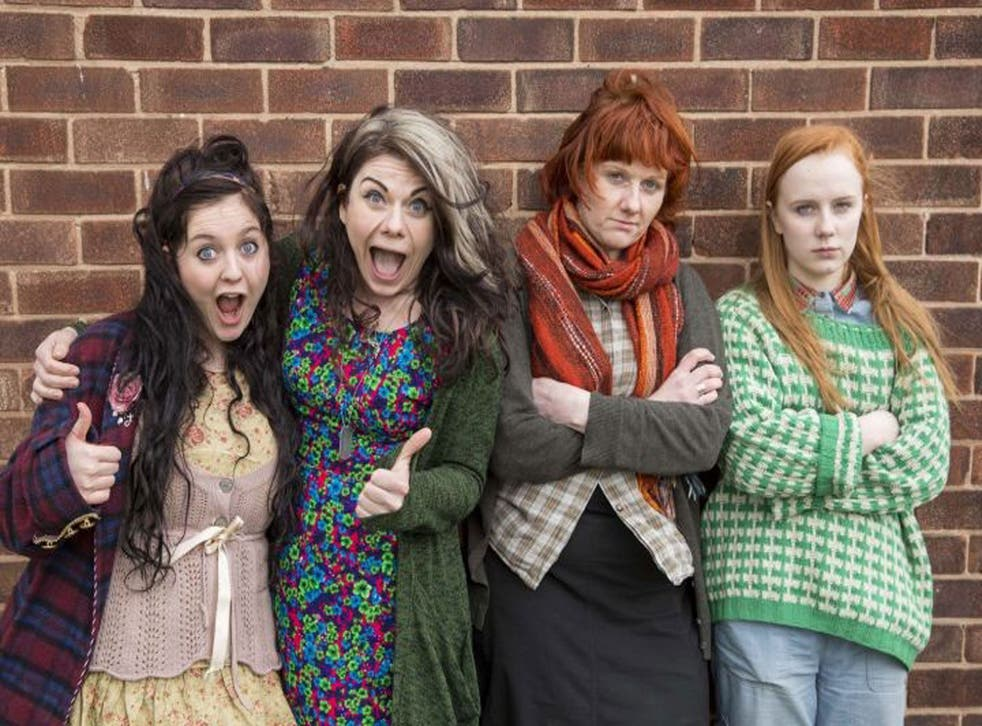 Caitlin Moran with cast members of Raised By Wolves