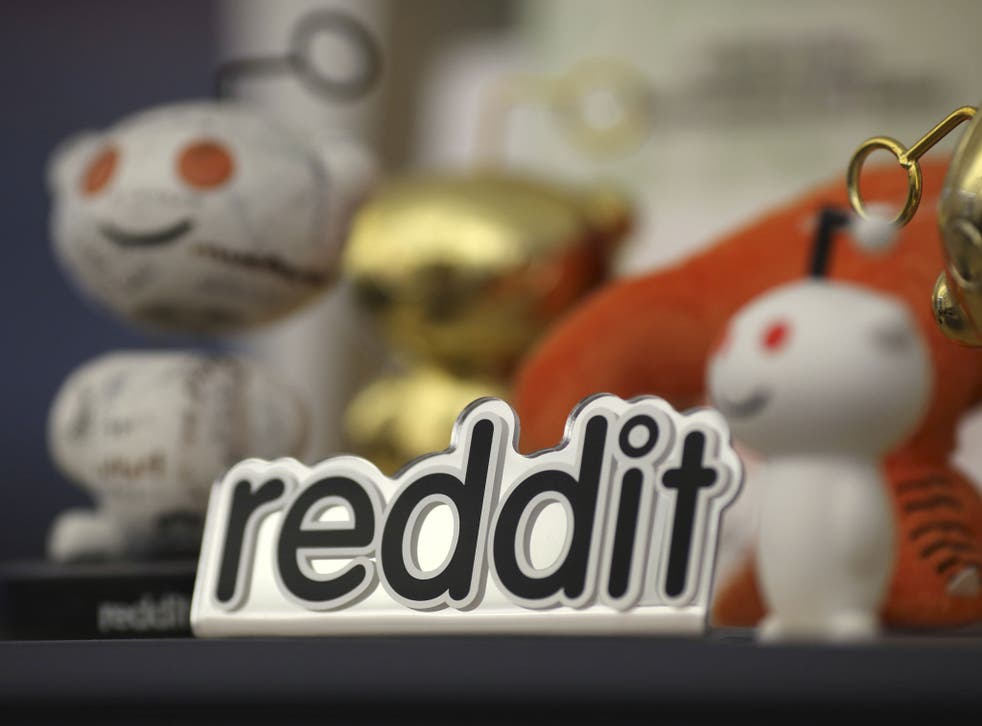 Reddit mascots are displayed at the company's headquarters in San Francisco, California