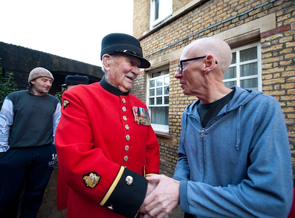 Chelsea Pensioners meet residents of Veterans Aid's hostel, New Belvedere House, in east London