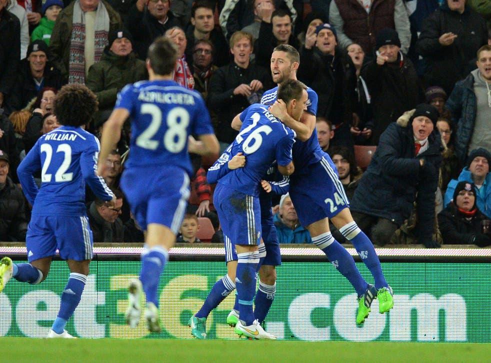 Chelsea players celebrate John Terry's goal