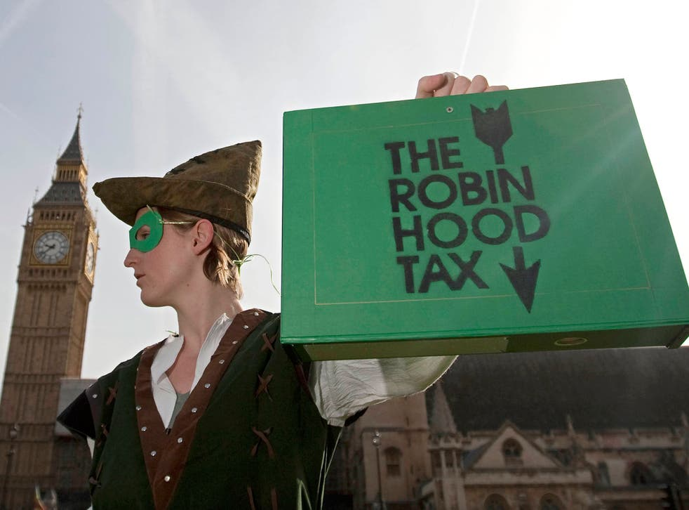 A protestor from the 'Robin Hood Tax Campaign,'