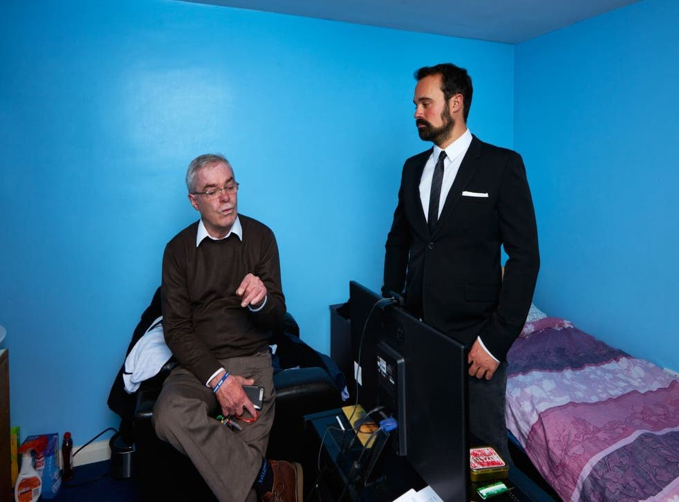 Evgeny Lebedev meets service veteran Derek Ellerbeck at Veterans Aid's east London hostel