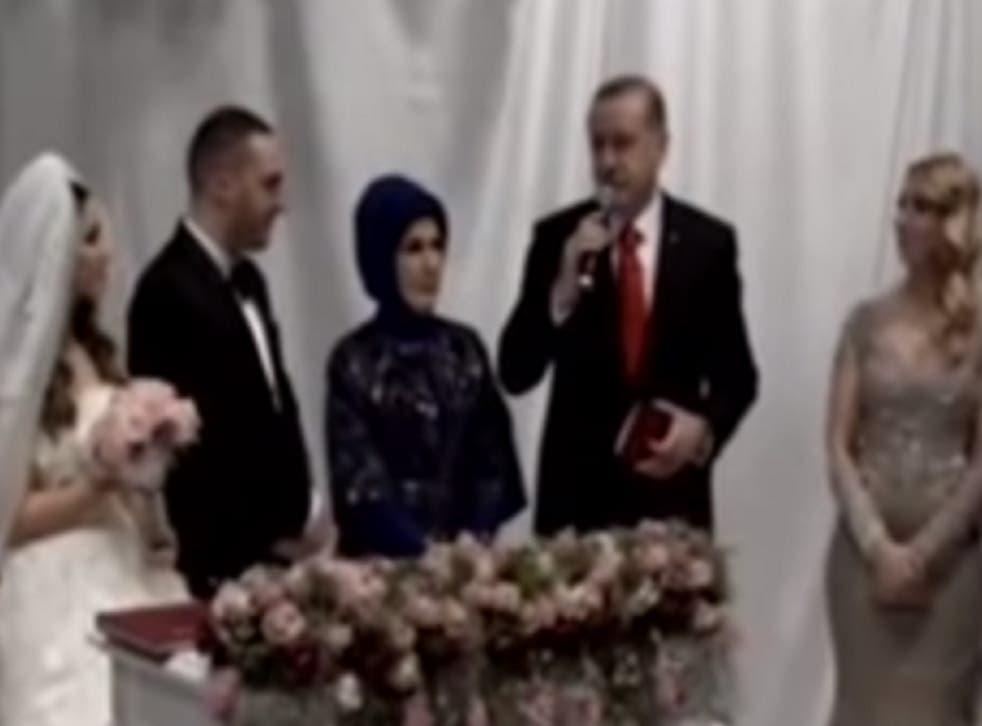 Turkish President Tayyip Erdogan has described birth control as a form of 'treason' at a couple's wedding
